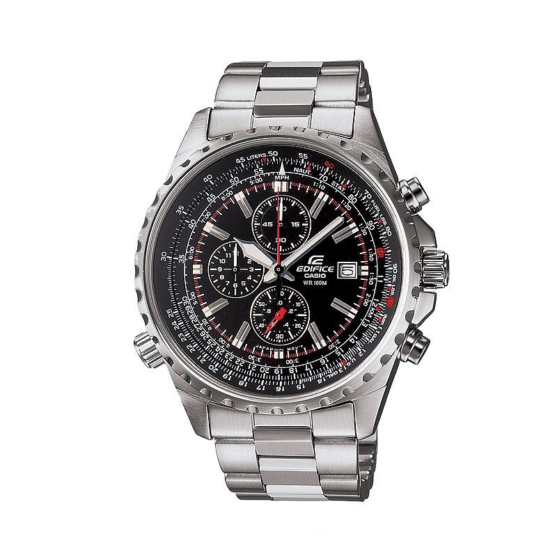 Casio Edifice Stainless Steel Flight Computer Chronograph Watch - Men