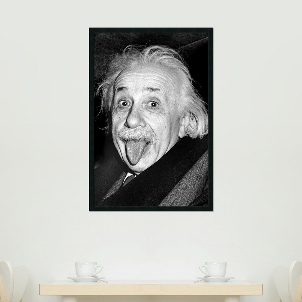 Albert Einstein - Funny Face Framed Poster