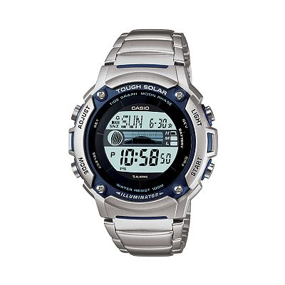 Casio Illuminator Tough Solar Stainless Steel Tidal and Moon Graph Digital Chronograph Watch - Men