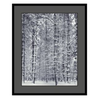 Pine Forest in the Snow, Yosemite National Park Framed Art Print by Ansel Adams