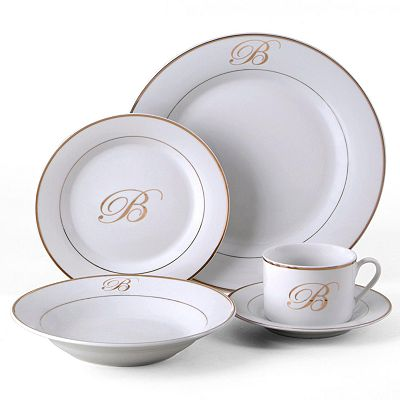 Gibson Elite Heritage Monogram 20-pc. Dinnerware Set