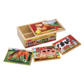 Melissa and Doug Farm Animals Jigsaw Puzzles in a Box Set