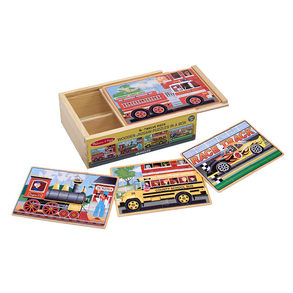 Melissa & Doug Vehicles Jigsaw Puzzles in a Box Set