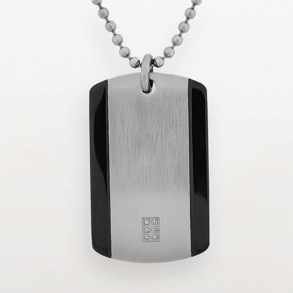 LYNX Stainless Steel Diamond Accent Dog Tag - Men