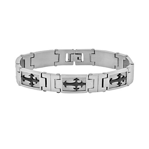 LYNX Stainless Steel Two Tone Sideways Cross Bracelet - Men