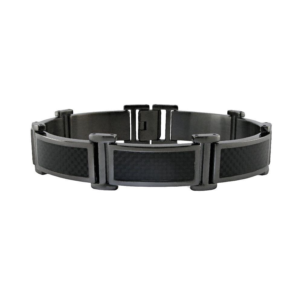 LYNX Stainless Steel Gray Ion-Plated Carbon Fiber Bracelet - Men