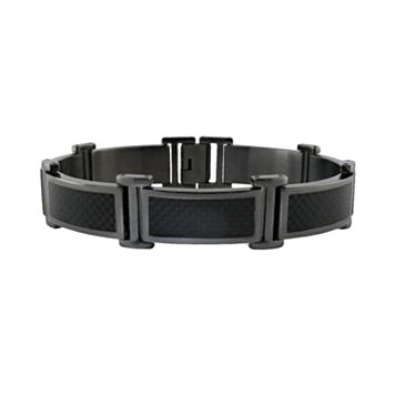 LYNX Stainless Steel Gray Ion-Plated Carbon Fiber Bracelet - Men