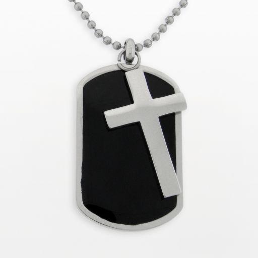 LYNX Stainless Steel Cross Dog Tag - Men