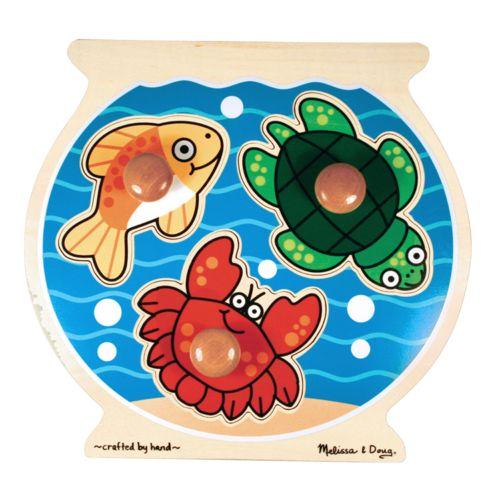 Melissa and Doug Wooden Fishbowl Jumbo Knob Puzzle