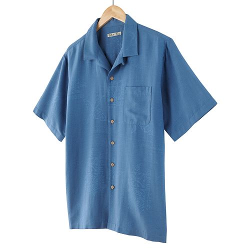 Batik bay tropical silk casual button front shirt for Men s batik bay silk blend button down shirt