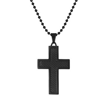 LYNX Stainless Steel Black Ion Cross Pendant - Men