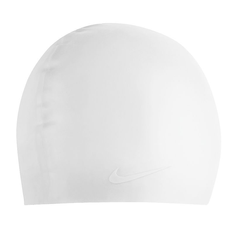 Nike Silicone Swim Cap, White Silicone construction provides extreme flexibility and doesn't stick to hair when removing. Nike Swoosh logo adds athletic authenticity. Details: One size fits most Silicone Color: White. Gender: Unisex. Age Group: Adult. Pattern: Solid.