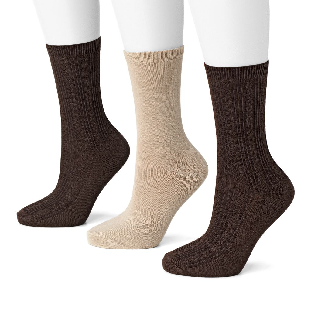 SONOMA Goods for Life™ 3-pk. Cable-Knit Crew Socks