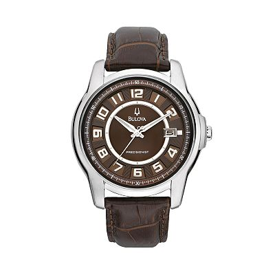 Bulova Precisionist Stainless Steel Leather Watch - Men