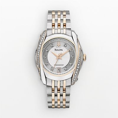 Bulova Precisionist Stainless Steel Two-Tone Diamond Accent and Mother-of-Pearl Watch - Women