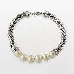 Sterling Silver Freshwater Cultured Pearl Mesh Chain Bracelet