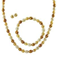 14k Gold Dyed Freshwater Cultured Pearl Necklace, Stretch Bracelet & Stud Earring Set