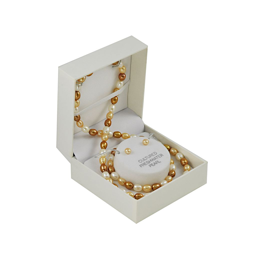 14k Gold Dyed Freshwater Cultured Pearl Necklace, Stretch Bracelet and Stud Earring Set