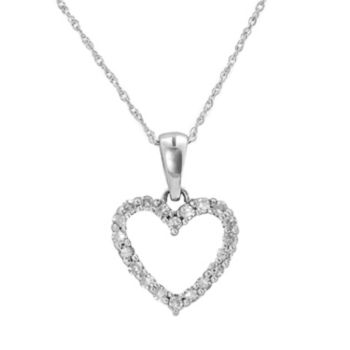 10k White Gold 1/4-ct. T.W. Round-Cut Diamond Heart Pendant