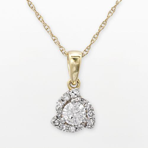 14k Gold 1/4-ct. T.W. Round-Cut Certified Diamond Swirl Pendant