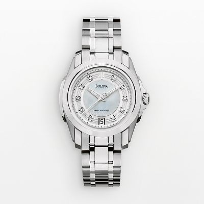 Bulova Precisionist Stainless Steel Diamond Accent and Mother-of-Pearl Watch - Women