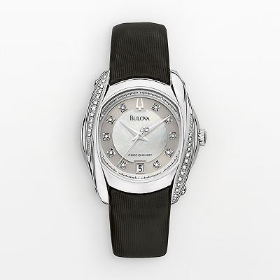 Bulova Precisionist Stainless Steel Diamond Accent and Mother-of-Pearl Leather Watch - Women