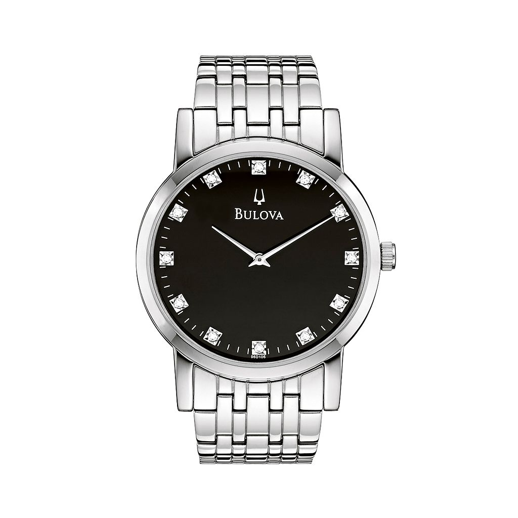 Bulova Men's Diamond Stainless Steel Watch - 96D106