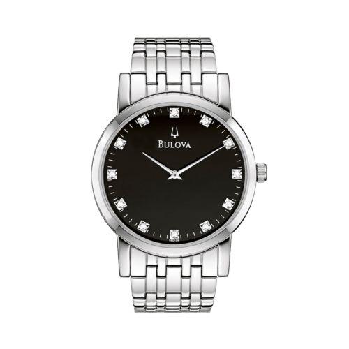Bulova Stainless Steel Diamond Accent Watch - Men