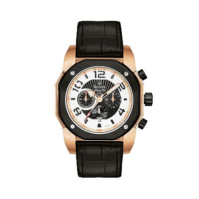 Bulova Marine Star Stainless Steel Rose Gold-Tone Leather Chronograph Watch - Men