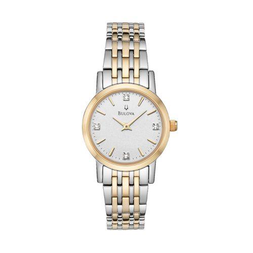 Bulova Women's Diamond Two Tone Stainless Steel Watch - 98P115