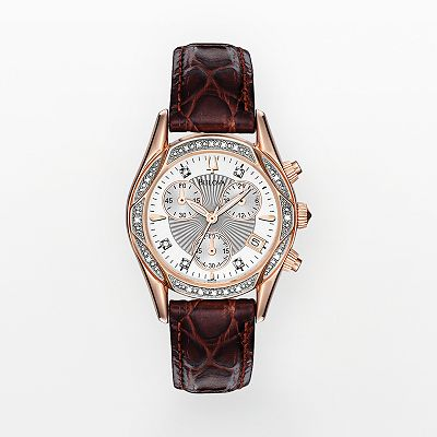 Bulova Stainless Steel Two-Tone Diamond Accent and Mother-of-Pearl Leather Chronograph Watch - Women
