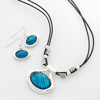 Silver-Tone Glass Pendant and Drop Earring Set