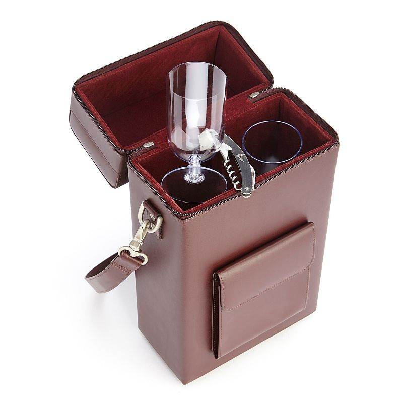 Royce Leather Connoisseur Wine Carrier, Red