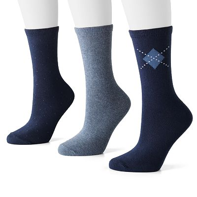 SONOMA life + style 3-pk. Pin-Dot, Argyle and Solid Boot Socks