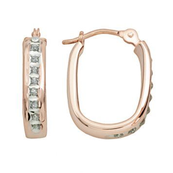 Diamond Fascination® 14k Rose Gold Diamond Accent U-Hoop Earrings