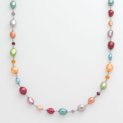 Sterling Silver Dyed Cultured Pearl and Gemstone Necklace