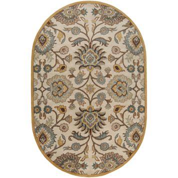 Surya Caesar Beige Floral Rug - 6' x 9' Oval