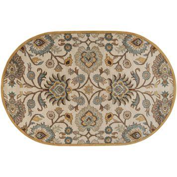 Surya Caesar Beige Floral Rug - 8' x 10' Oval