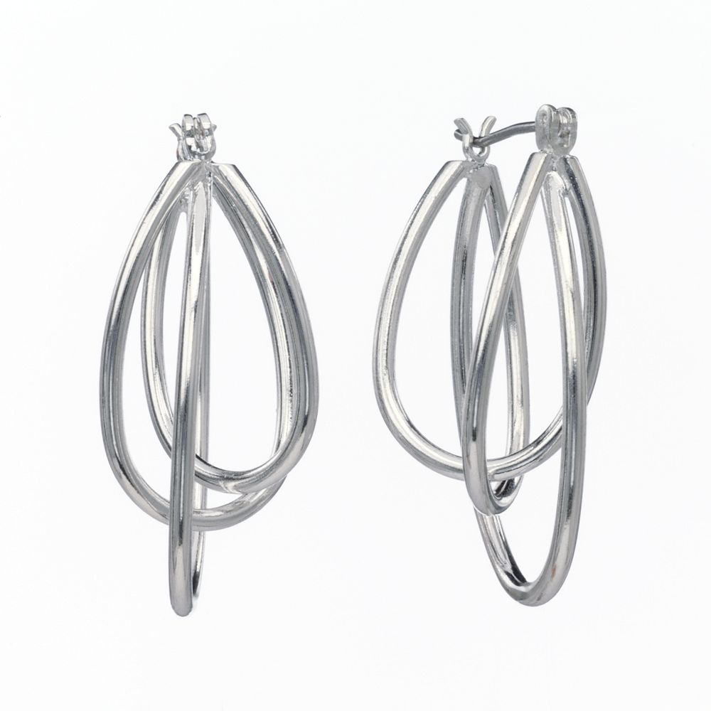 SONOMA Goods for Life® Silver-Tone Twist Oval Hoop Earrings