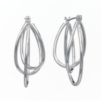 Silver-Tone Twist Oval Hoop Earrings
