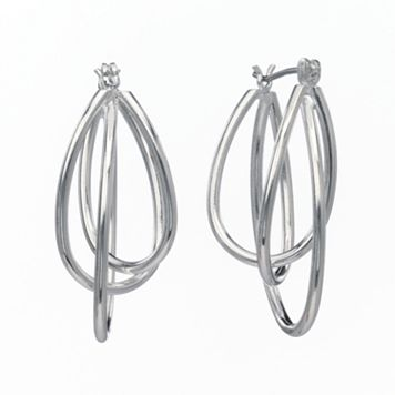 Silver-Tone Twist Oval Hoop Earrings