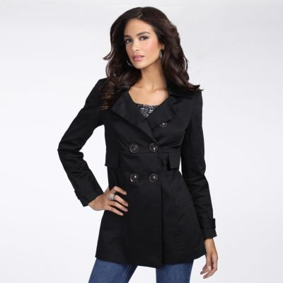 daisy fuentes Double-Breasted Trench Coat - Petite