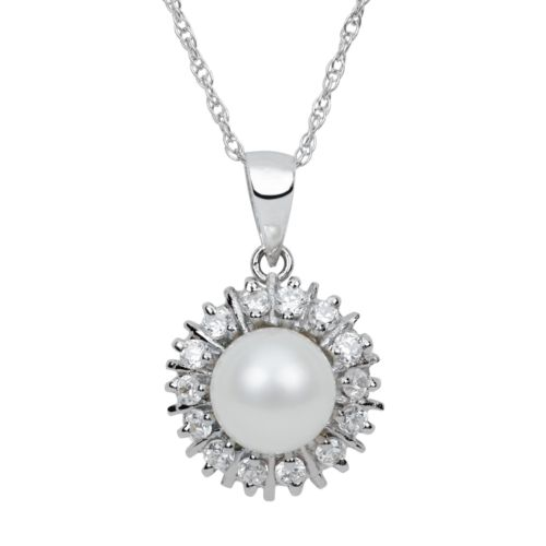 Sterling Silver Freshwater Cultured Pearl and Cubic Zirconia Starburst Pendant