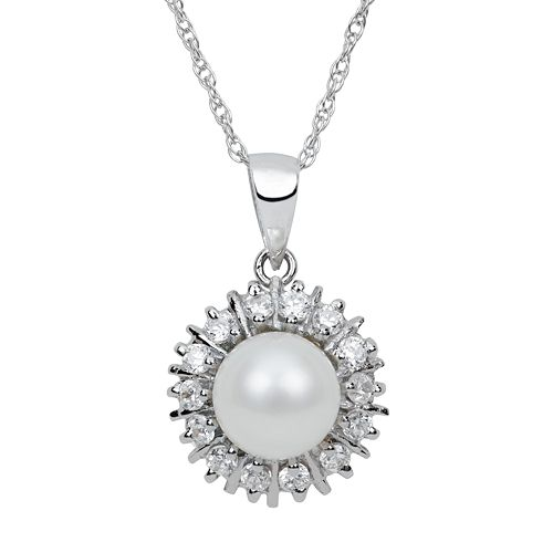 Sterling Silver Freshwater Cultured Pearl & Cubic Zirconia Starburst Pendant