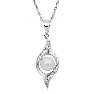 Sterling Silver Freshwater Cultured Pearl and Cubic Zirconia Swirl Pendant