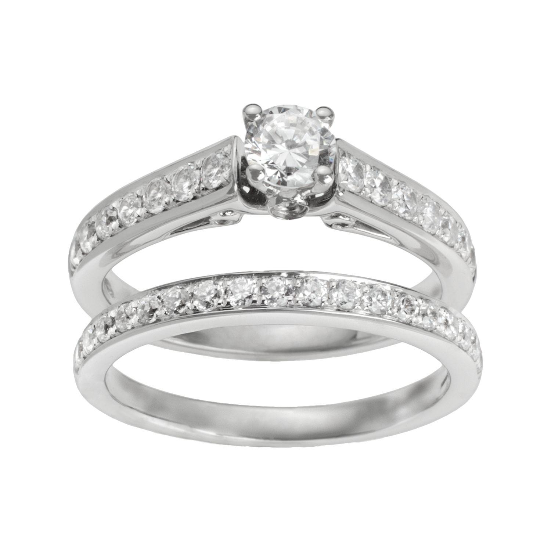 Halo Wedding Ring Sets 24 Lovely Round Cut IGI Certified