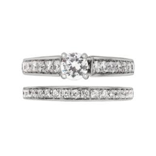 Round-Cut IGI Certified Diamond Engagement Ring Set in 14k White Gold (1 ct. T.W.)