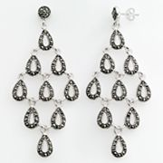 Sterling Silver Marcasite Teardrop Link Kite Earrings
