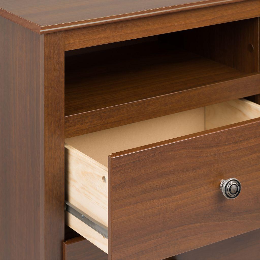 Prepac Monterey 2-Drawer Open Shelf Nightstand