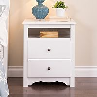 Prepac Monterey 2-Drawer Open Shelf Nightstand
